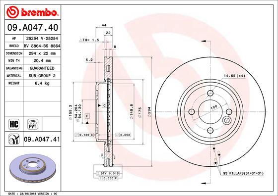 Disque de frein avant BREMBO 09.A047.41 (Jeu de 2)