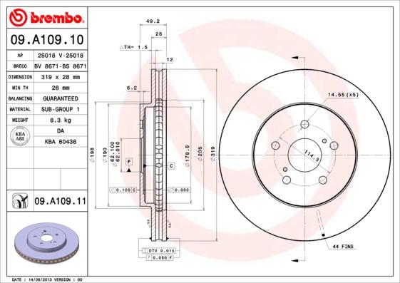 Disque de frein avant BREMBO 09.A109.11 (Jeu de 2)