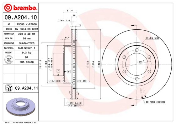 Disque de frein avant BREMBO 09.A204.10 (X1)