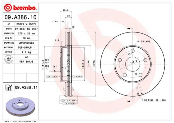 Disque de frein avant BREMBO 09.A386.11 (Jeu de 2)