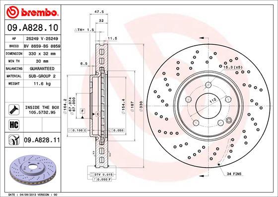 Disque de frein avant BREMBO 09.A828.11 (X1)