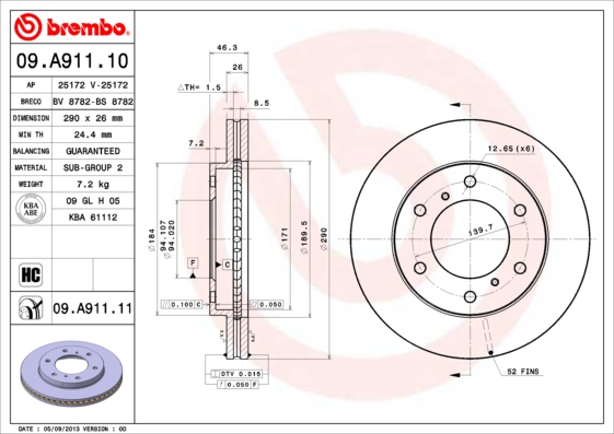 Disque de frein avant BREMBO 09.A911.11 (Jeu de 2)