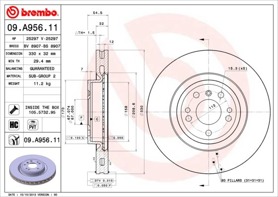 Disque de frein avant BREMBO 09.A956.11 (X1)