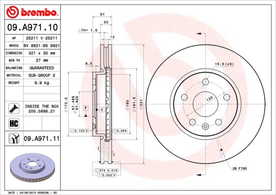 Disque de frein avant BREMBO 09.A971.11 (X1)