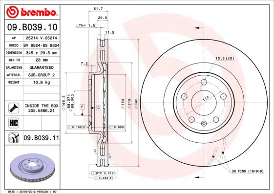 Disque de frein avant BREMBO 09.B039.11 (X1)