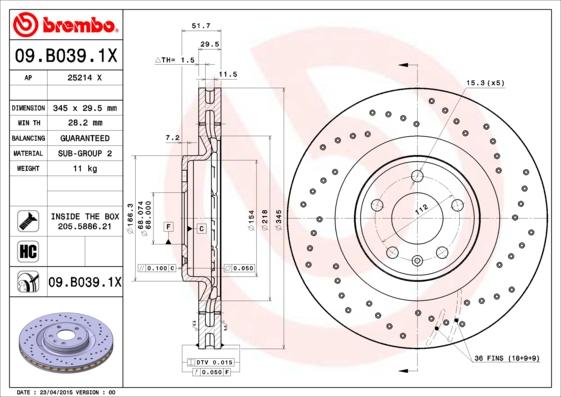Brembo 09.B039.1X Rotors de disques de frein