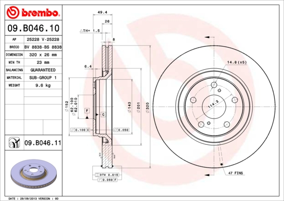 Disque de frein avant BREMBO 09.B046.11 (X1)