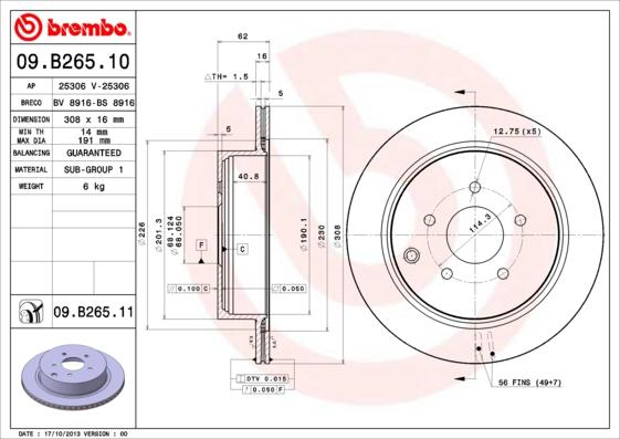 Disque de frein arriere BREMBO 09.B265.11 (Jeu de 2)