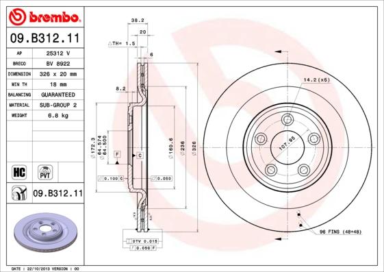 Disque de frein BREMBO 09.B312.11 (Jeu de 2)