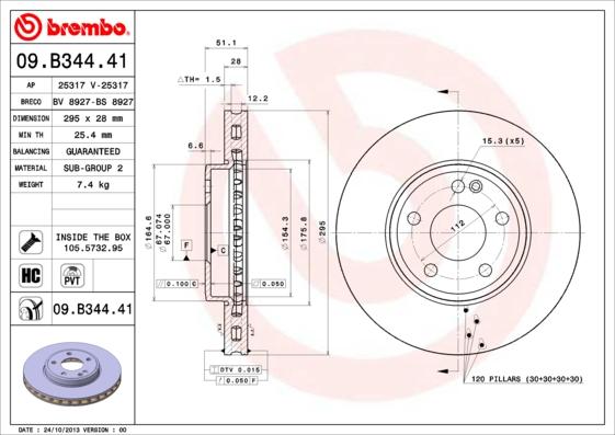 Disque de frein avant BREMBO 09.B344.41 (Jeu de 2)