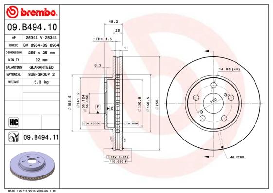 Disque de frein avant BREMBO 09.B494.11 (Jeu de 2)