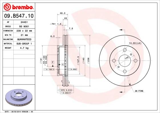 Disque de frein avant BREMBO 09.B547.10 (Jeu de 2)