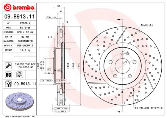 Disque de frein avant BREMBO 09.B913.11 (X1)