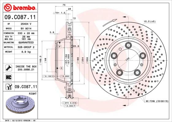 Disque de frein arriere BREMBO 09.C087.11 (X1)