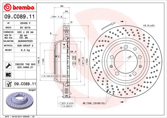 Disque de frein arriere BREMBO 09.C089.11 (X1)