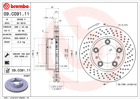 Disque de frein avant BREMBO 09.C091.11 (X1)