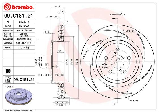 Disque de frein arriere BREMBO 09.C181.21 (X1)