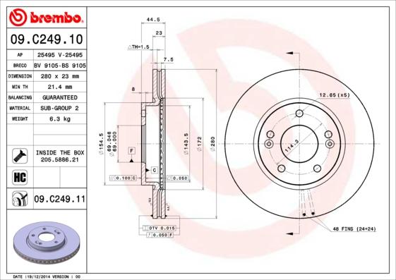 Disque de frein avant BREMBO 09.C249.11 (Jeu de 2)