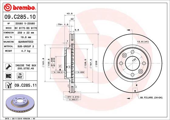 Disque de frein avant BREMBO 09.C285.11 (Jeu de 2)
