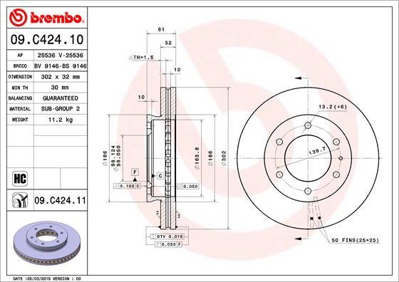 Disque de frein avant BREMBO 09.C424.11 (X1)