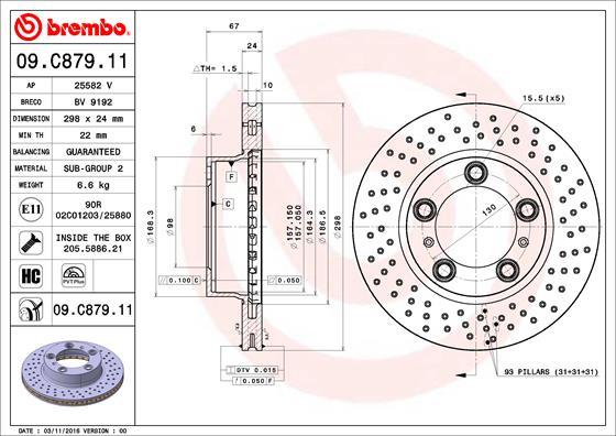 Disque de frein avant BREMBO 09.C879.11 (Jeu de 2)