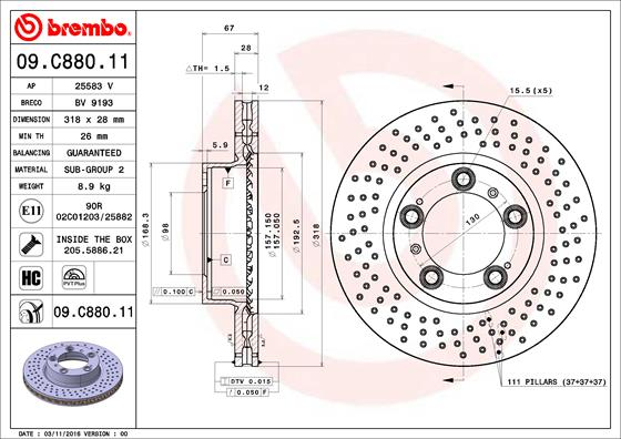 Disque de frein avant BREMBO 09.C880.11 (X1)