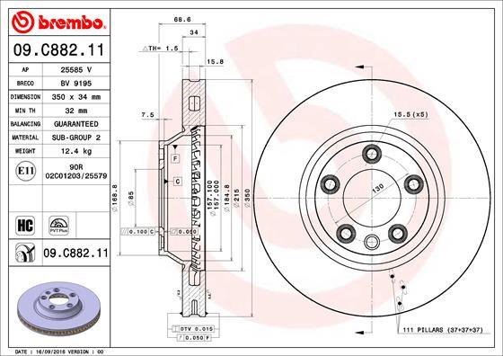 Disque de frein avant BREMBO 09.C882.11 (X1)