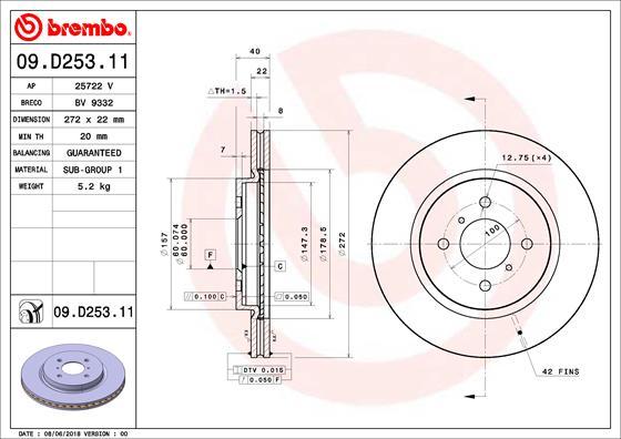 Disque de frein avant BREMBO 09.D253.11 (Jeu de 2)