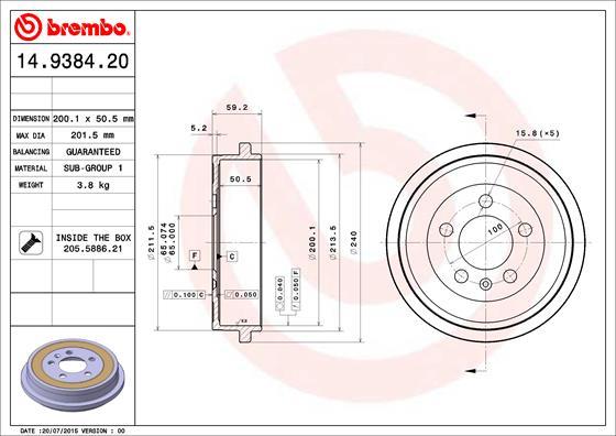 Tambour de frein arriere BREMBO 14.9384.20 (X1)