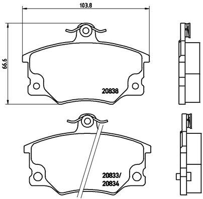 Plaquettes de frein avant BREMBO P 23 017 (Jeu de 4)