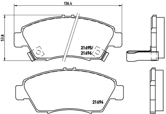 Plaquettes de frein avant BREMBO P 28 023 (Jeu de 4)