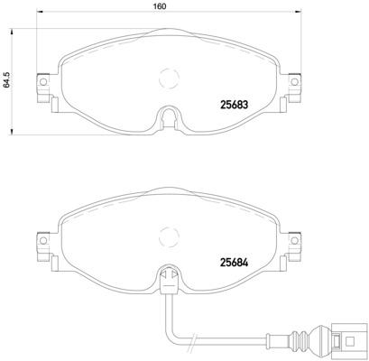 Plaquettes de frein avant BREMBO P 85 126 (Jeu de 4)