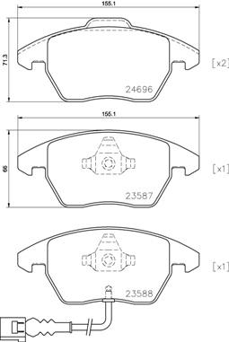Plaquettes de frein avant BREMBO P 85 146 (Jeu de 4)