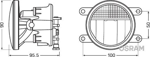 Phare antibrouillard OSRAM LEDFOG201 (X1)