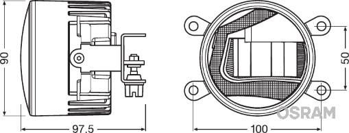 Phare antibrouillard OSRAM LEDFOG102 (X1)