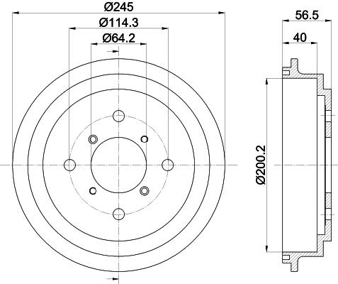Tambour de frein arriere MINTEX MBD290 (Jeu de 2)