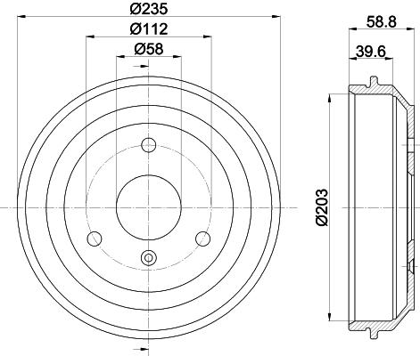 Tambour de frein arriere MINTEX MBD336 (Jeu de 2)