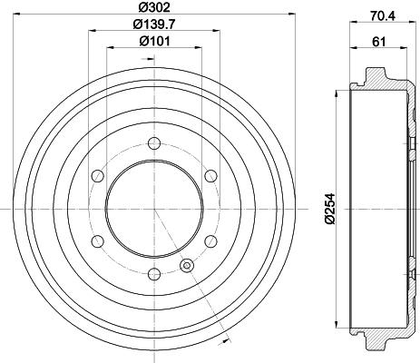 Tambour de frein arriere MINTEX MBD390 (Jeu de 2)