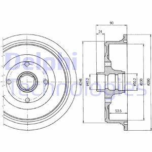 Tambour de frein arriere DELPHI BF284 (X1)