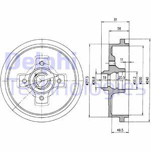 Tambour de frein arriere DELPHI BF310 (X1)