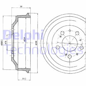 Tambour de frein arriere DELPHI BF327 (X1)