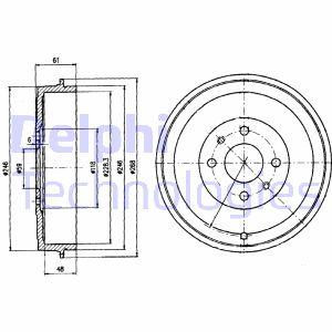 Tambour de frein arriere DELPHI BF379 (X1)