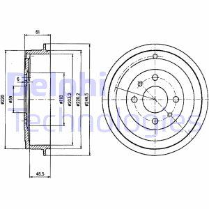 Tambour de frein arriere DELPHI BF413 (X1)