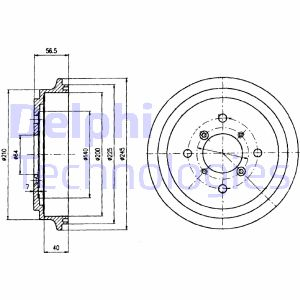 Tambour de frein arriere DELPHI BF450 (X1)