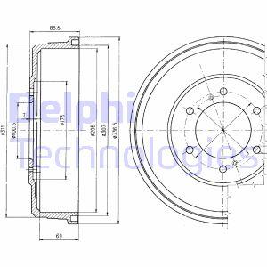 Tambour de frein arriere DELPHI BF461 (X1)