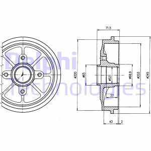 Tambour de frein arriere DELPHI BF484 (X1)