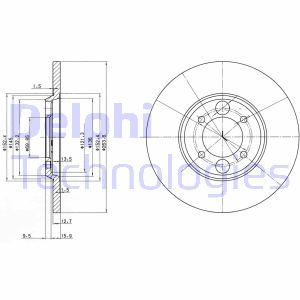 Disque de frein DELPHI BG2084 (Jeu de 2)