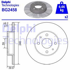Disque de frein DELPHI BG2458 (Jeu de 2)
