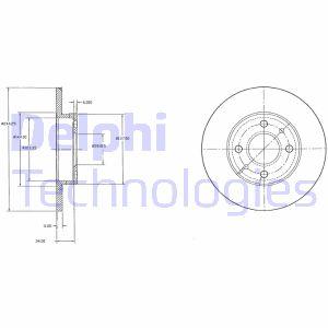 Disque de frein DELPHI BG2458C (Jeu de 2)