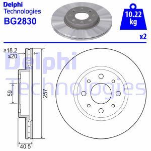 Disque de frein avant DELPHI BG2830 (Jeu de 2)